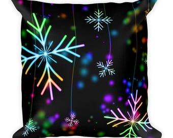 Snowflake Square Pillow | Throw Pillow | Winter Pillow | Decorative Pillow | Rainbow Snowflakes | Snowflakes Pillow | Couch Pillow |