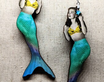 Mermaid Earrings / Laser Cut Wood / Siren Earrings / Stainless Steel / Hypoallergenic / Nautical Earrings / Mermaid Jewelry / Sea Jewelry