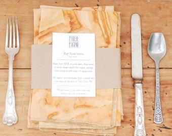 Cotton Napkins, Set of 4 Table Linens, Natural Dye Napkins, Rust Dye, Wedding Decor, Set of 4 Napkins, Rust Dye Linens