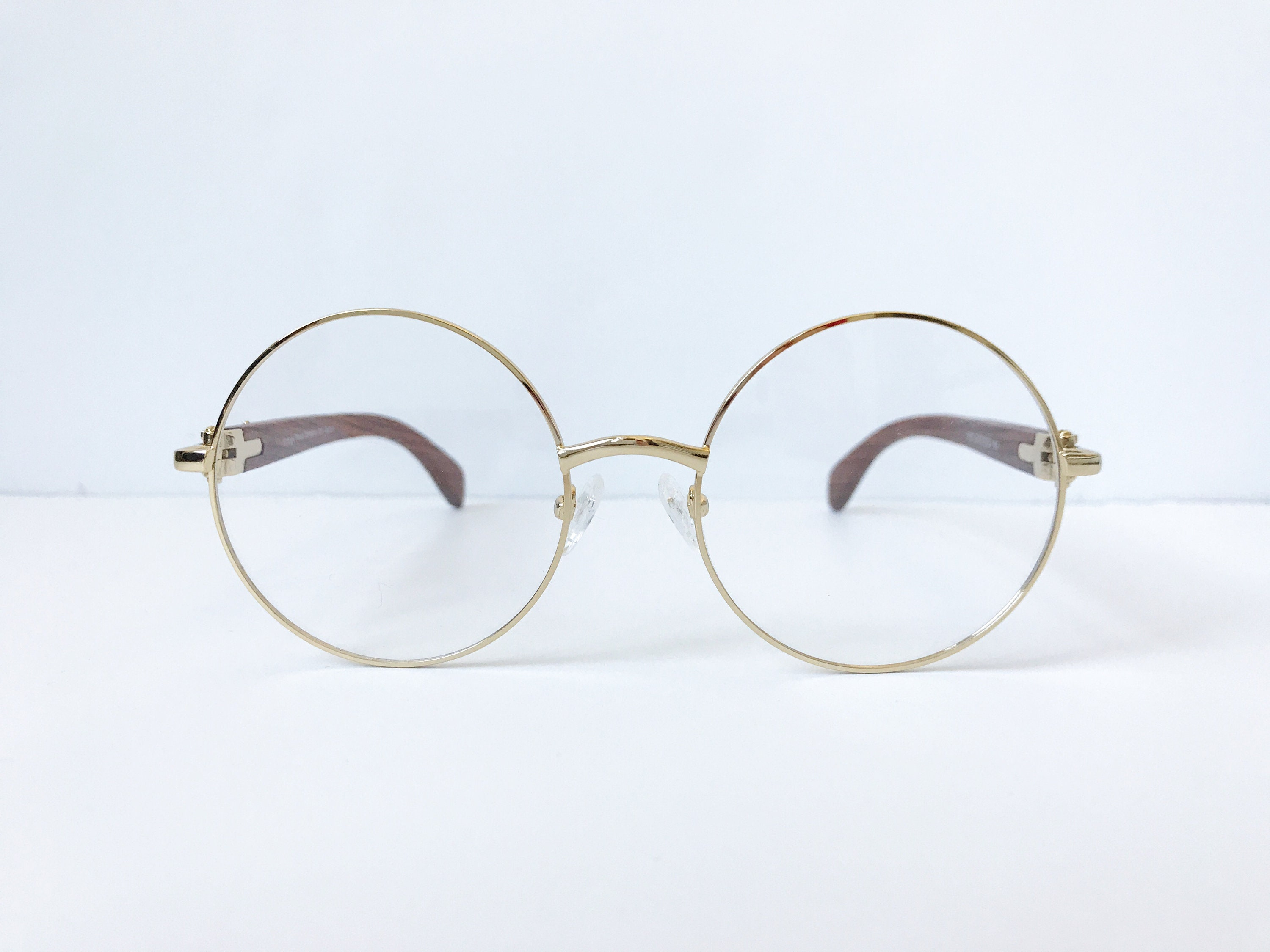 Vintage Wood Collection Round Gold Frame Brown Wood Temples