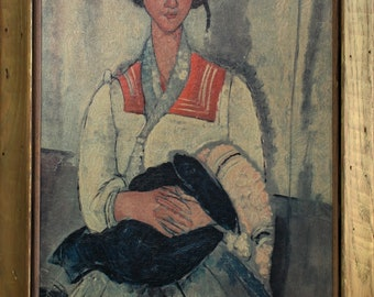 After Amadeo Modigliani, Gypsy Woman with Baby Oil Painting