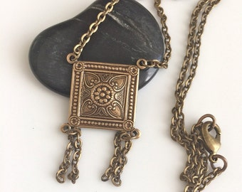 Brass Pendant Necklace  Bohemian Necklace  Square Brass Pendant  Antiqued Brass Necklace  Boho  Gypsy Dangles