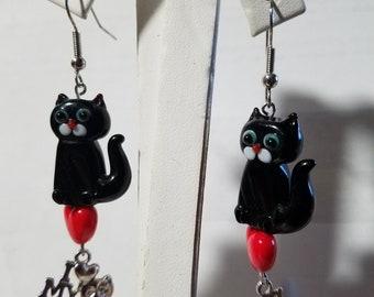 Glass Kitty Earrings