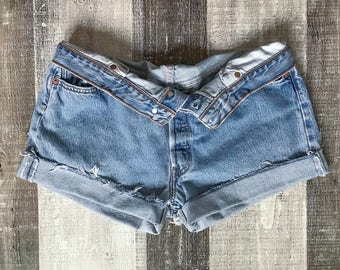 Levi's 501 Shorts High Waist Vintage Levis Cut Off Shorts Levi Shorts Denim Cutoffs Distressed Button Fly Jean Shorts Medium Large 6 8 10