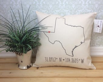 Coordinate State Pillow Cover, State Coordinates, Home Pillow, Home decor, Custom Pillow, All States available
