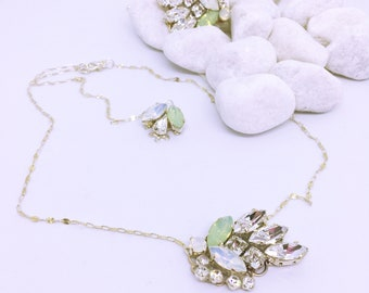 Equinoxe Wedding Necklace / Jewel Back / Silver Necklace and Swarovski Beads