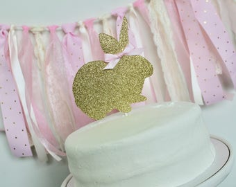 Bunny Birthday Cake Topper, Bunny Cake Topper, Some Bunny is One Birthday Decorations, Pink and Gold Bunny Party