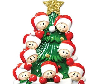 Personalized Christmas Tree Family Of Eight Ornaments- Grandkids, Best Friends , Siblings,Coworkers, Bridesmaid, Grandma's Gang