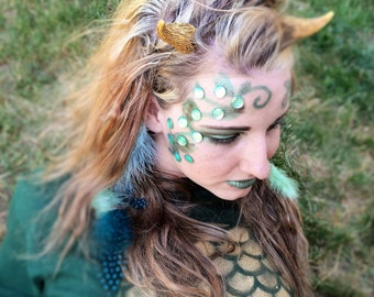 Womens Dragon Costume Accessory - Female Dragon Cosplay Eye Face Makeup - Green Dragon Halloween Costume Mask - Adult Mermaid Costume Scales