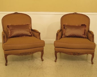 45206EC: Pair ETHAN ALLEN French Upholstered Bergere Chairs