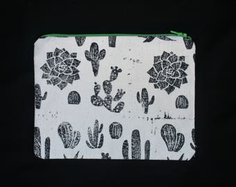 Hand-Printed Cactus Print Canvas Pouch