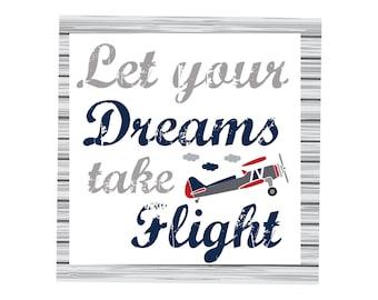Let your dreams take flight canvas, boys room, boys decor, nursery, wall art, wall decor, home decor