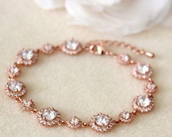 Rose Gold Bridal Bracelet Rose Gold Wedding Bracelet Round Cubic Zirconia Rose Gold Bracelet Rose Gold Bridal Jewelry Crystal Bracelet