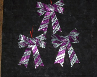 Glittered PVC bows,purple & silver striped,set of 3,Outdoor wreath embellishments