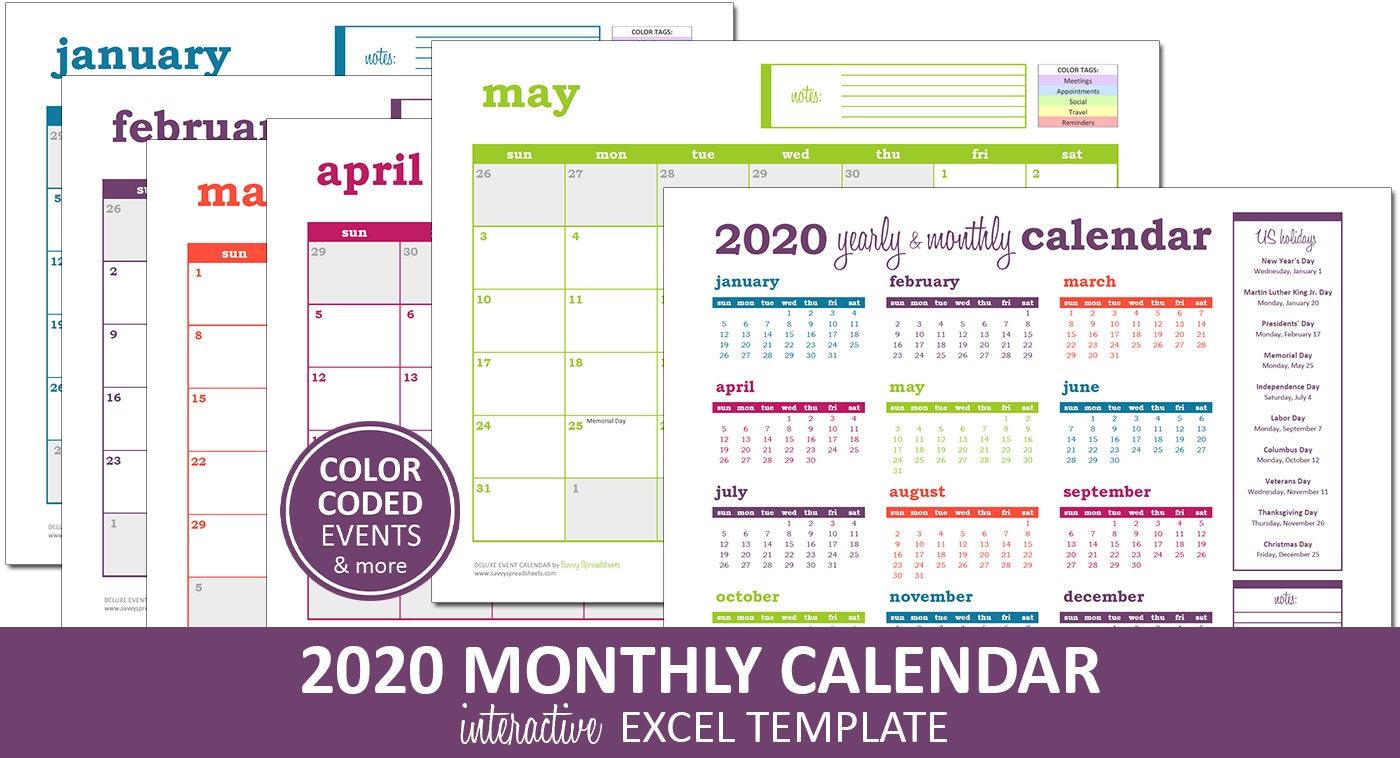 Deluxe-Event-Kalender 2020 Druckbare Excel Kalendervorlage