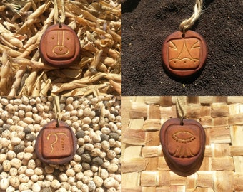Akbal - Kaban - Ajaw - Imix / Mayan signs - Tzlokin - kin / Avocado stone necklace , avocado pit pendant , seed carving / handcraft jewelry