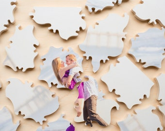 Puzzle Wedding Guest Book, 40 Wood Pieces, Use Your Photo