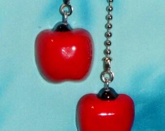 Set of Two ~ Beautiful! Apple Education Teacher ~ Ceiling Fan Pulls