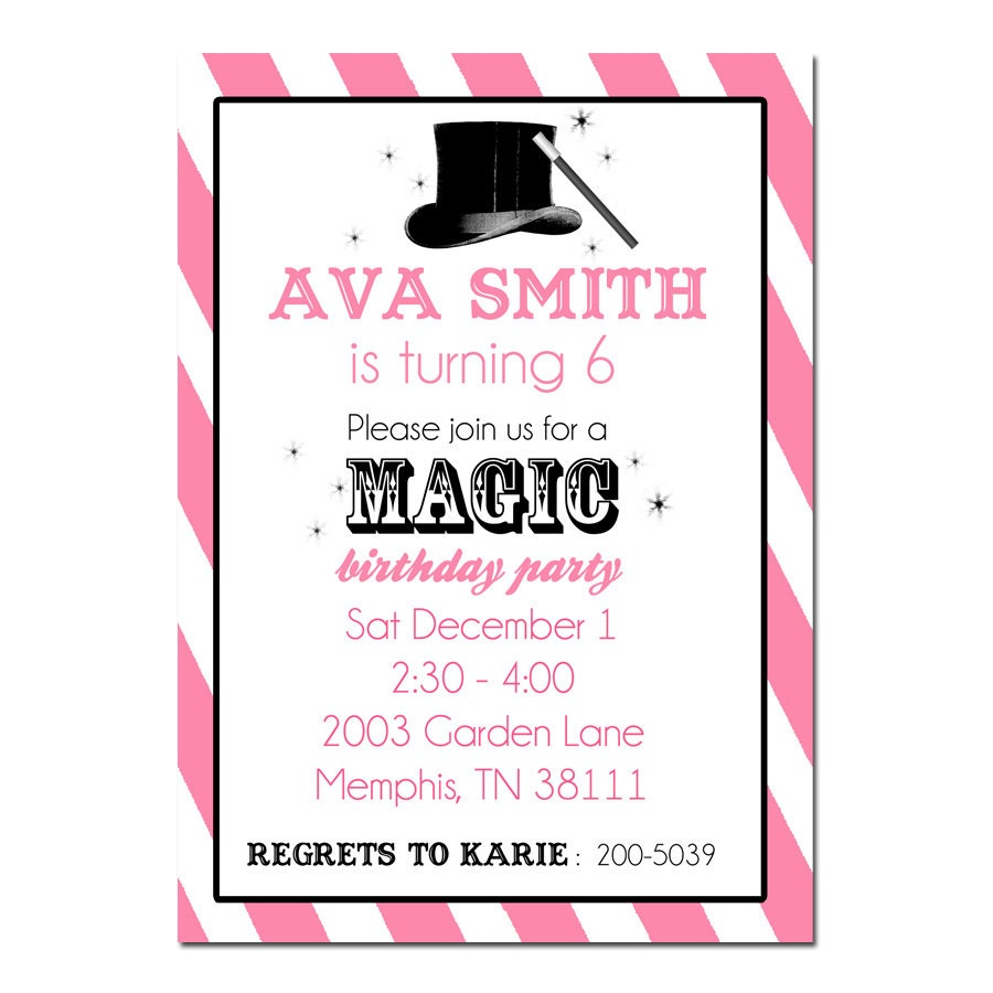 Magic Birthday Party Invitation Digital File Magician