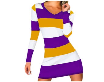 Purple + Bright Gold Stripe Spirit Dress
