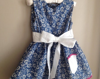 Girls Dresses - Baby Girl Dress Special Occasion - Little Girl Dresses - Girls Floral Dress - Girls Blue Floral Dress - 3T Girls Dress