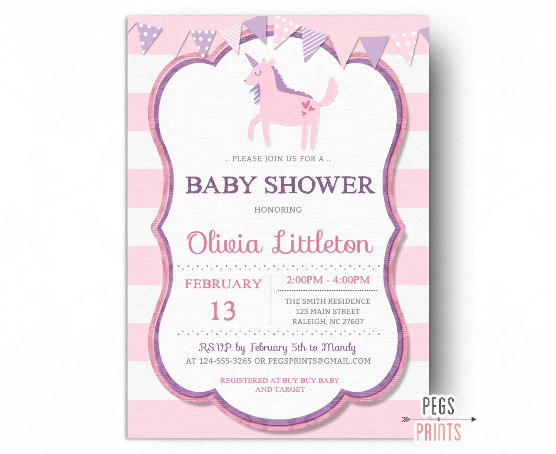 Unicorn Baby Shower Invitation Girl PRINTABLE Unicorn Shower