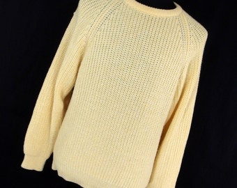 Vintage Carson Pirie Scott Classic Sweater Mens XL Ecru Cream Crew Neck Long Sleeve Acrylic Warm V1