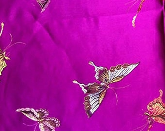 On SALE 55% OFF Butterfly Fabric - Purple Fabric - Brocade Fabric - Insect Fabric - Purple - Japanese Fabric - Butterflies - Nylon - Polyest