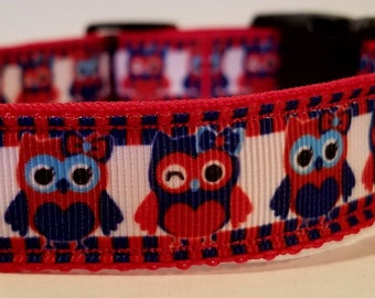 Red white and Blue Owl dog collar