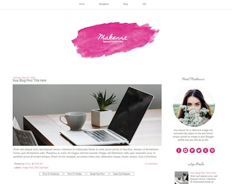 Pink Blogger Template - Watercolor Blog Template - Modern Blog Template - Responsive Blogger Template