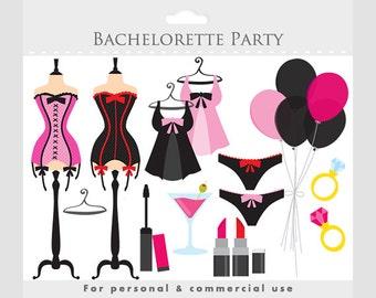 Bachelorette party clipart - clip art bachelorettes, sexy, corsets, fashion, make-up, makeup, balloons, ring, lipstick, dress form, lingerie