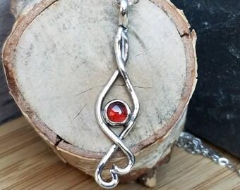 Garnet necklace red garnet pendant red stone garnet pendant necklace red garnet unique one of a kind ooak sterling silver and garnet