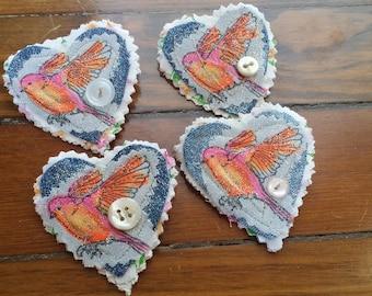 Upcycled fabric bird pin