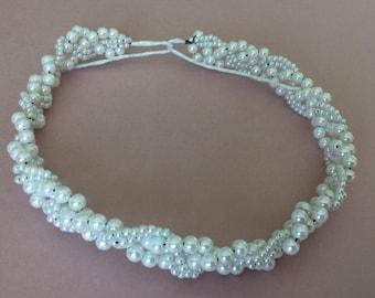 """Braided Pearl Wreath 18"""" 2 per pkg.SALE"""