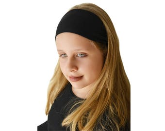 Solid Black Headband - Workout Headband - Yoga Headband - Nylon Headbands - Boho Headband Wide - Hair Accessories - Running Headband   Boho
