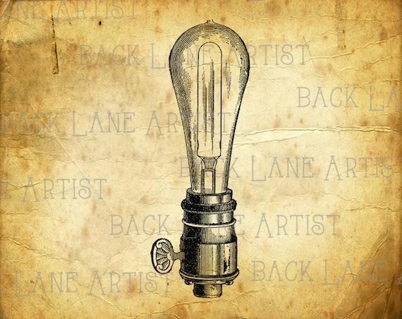 Line Drawing Light Bulb : Vintage light bulb clipart illustration instant download png