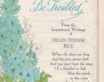2 Used Greeting Cards with Helen Steiner Rice Inspirational Poems, good shape, c1970s, Gibson Cards