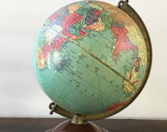 "World Globe by Replogle / Rustic Old World Globe / Colorful Vintage Globe / Desktop Globe / Home School / 10"" Diameter"