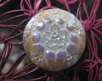 Plumeria Flower in Irirdescent Czech Glass Button 18mm