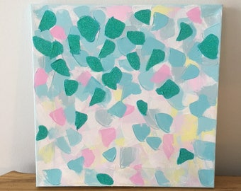 "Original Acrylic Abstract Painting on Canvas with Glitter, Turquoise, Pink, Yellow, White, 12""x12, Impasto"