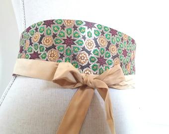 Paperback silk OBI belt / women belt in silk / silk waist cincher / Japanese belt / mothers day gift idea / obi belt