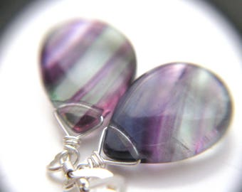 Mental Health Jewelry . Mindfulness Jewelry . Rainbow Fluorite Earrings . Healing Stone Jewelry for Mental Clarity - Chakra Collection