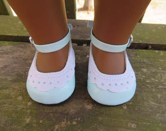 "Cute Light Blue 18"" Doll shoes, Fits American girl dolls"
