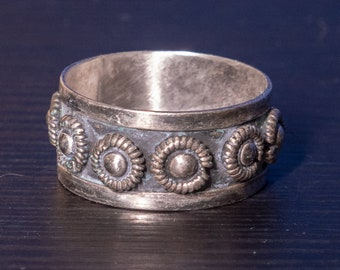 Vintage Sterling Silver Ring made in Taxco, Mexico, Size 13