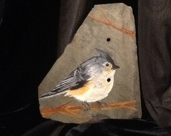 Tufted Titmouse Original on recycled slate
