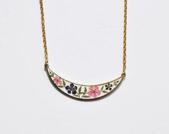 Vintage Enamel Moon Crescent Necklace