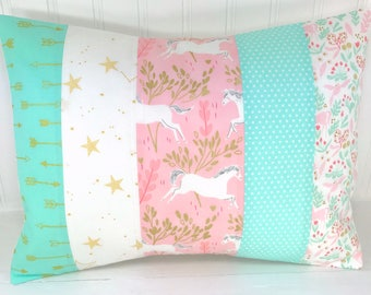 Unicorn, Pillow Cover, Decorative Pillows, Nursery, Cushion Cover, Baby Girl, Baby Bedding, 12 x 16, Blush Pink Coral Mint Gold Unicorns