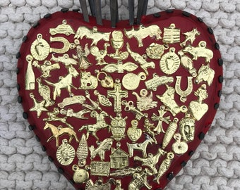 Large South American Inspired Sacred Heart With Milagros