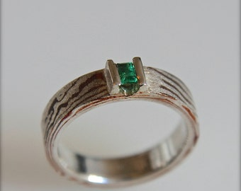 OOAK Silver and copper mokume gane ring with emerald