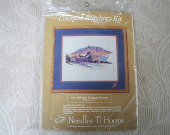 Craft Supplies Counted Cross Stitch New England Sunset Craft Kit Needles 'N Hoops
